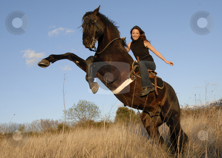 Rearing stallion and girl stock photo, Rearing black stallion and happy young woman in a field by Bonzami Emmanuelle