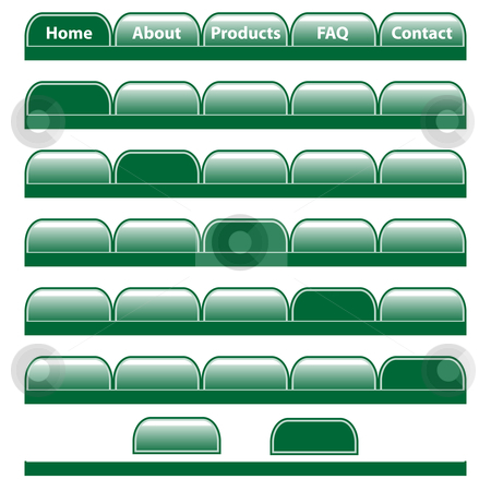 Web buttons navigation bars set. Isolated on white. stock vector clipart, Web buttons, green navigation bars set with individual blank tabs. Isolated on white. by toots77