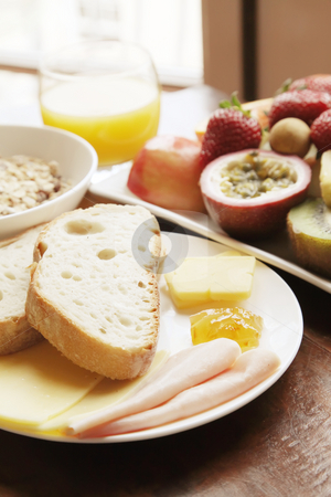 Continental Breakfast stock photo, Continental Breakfast With Fruits Cereal and Bread by Kheng Ho Toh