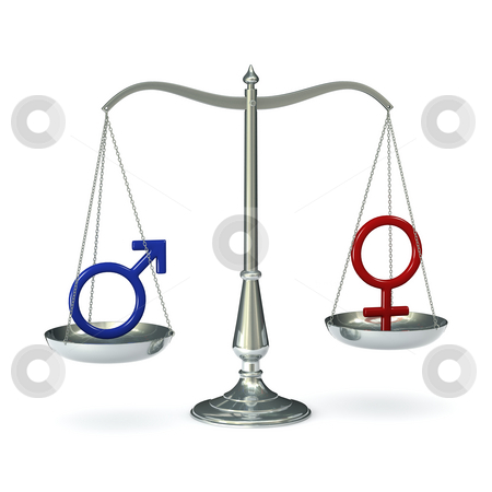 Scales With Gender Symbols Stock Photo