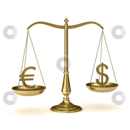 Scales euro dollar stock photo, Classis scales of justice with euro and dollar symbols,  isolated on white background by Martin Ivask