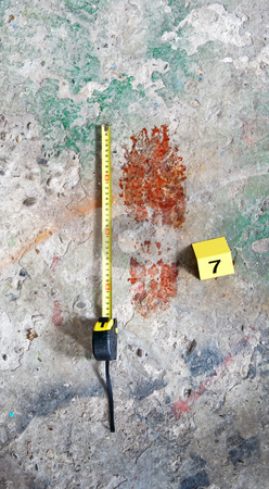 Bloody Footprint stock photo, Crime scene photo of a Bloody footprint, with a measuring tape and evidence placard next to it by Corepics VOF