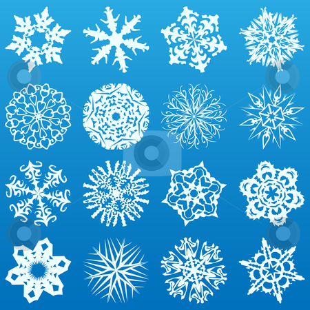 Set of 16 snowflakes stock vector clipart, Set of 16 highly detailed complex snowflakes. Vector Image by Augusto Cabral Graphiste Rennes