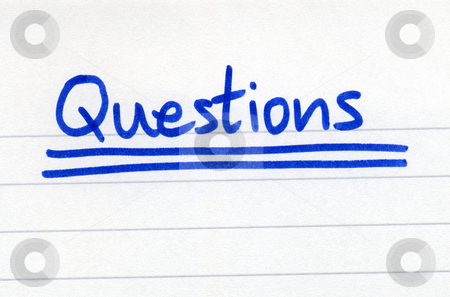 Questions, written with blue ink on white paper. stock photo, Questions, written with blue ink on white paper. by Stephen Rees