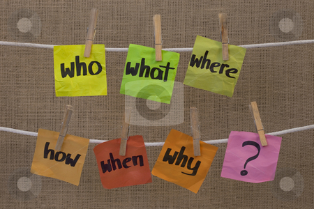Brainstorming - unaswered questions stock photo, Who, what, where, when, why, how questions - uncertainty, brainstorming or decision making concept, colorful crumpled sticky notes hanging on clothesline against canvas background by Marek Uliasz