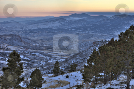 Winter dusk at Colorado Rocky Mountains stock photo, Winter dusk at Colorado Rocky Mountains near Fort Collins - looking southwest from Horsetooth Mountain Park by Marek Uliasz