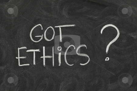 Got ethics ? stock photo, Got ethics? Are you ethical question handwritten with white chalk on blackboard with eraser smudges by Marek Uliasz