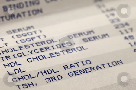 Blood and cholesterol screening results stock photo, Detail of blood screening results prinitng with focus on cholesterol by Marek Uliasz