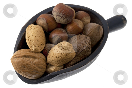 Scoop of mixed nuts stock photo, Hazelnuts, almonds, pecans, walnuts and Brazilian nuts on a rustic wooden scoop isolated on white by Marek Uliasz