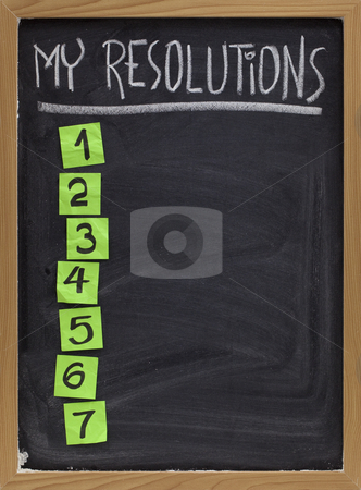 My resolutions list stock photo, My resolutions - blank numbered list, white chalk handwriting and reminder notes on blackboard by Marek Uliasz