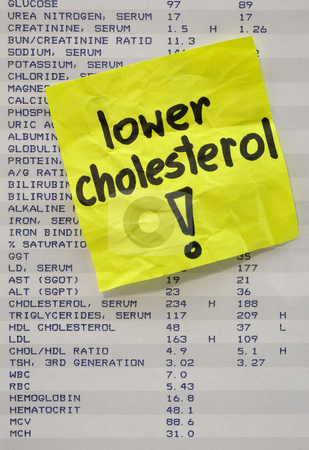 Lower your cholesterol concept stock photo, Lower cholesterol - yellow reminder note on printout with blood test resultes by Marek Uliasz