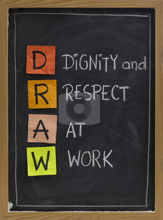 Dignity and respect at work stock photo, DRAW (dignity and respect at work) - workplace culture acronym, white chalk handwriting, colorful sticky notes on blackboard by Marek Uliasz