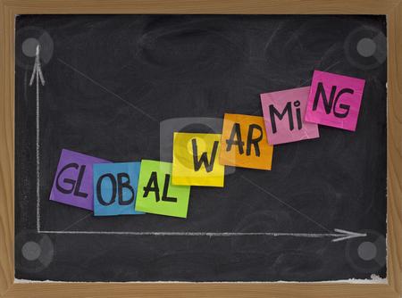 Global warming concept on blackboard stock photo, Global warming concept - colorful sticky notes and white chalk drawing on blackboard by Marek Uliasz