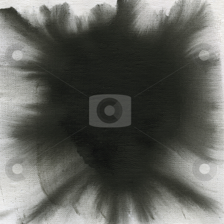 Black watercolor abstract with canvas texture stock photo, Texture of rough irregular black watercolor abstract on white artist cotton canvas, self made by Marek Uliasz