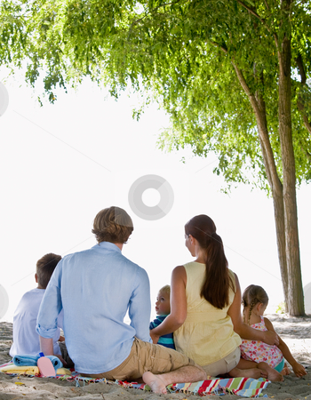 Family at beach stock photo, Family at beach by Jonathan Ross
