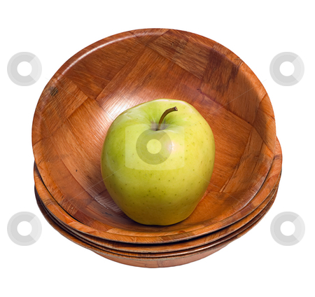 Apple In A Bowl stock photo, A single apple sitting in the top bowl in a stack, isolated against a white background by Richard Nelson