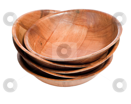 Stack of Wood Bowls stock photo, A stack of wooden bowls isolated against a white background by Richard Nelson