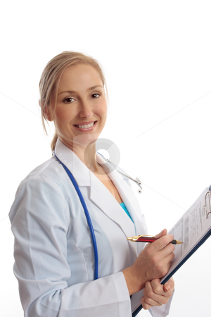 Dioctor  Health Evaluation stock photo, A cheerful female  doctor or nurse holding a folder with a health evaluation sheet by Leah-Anne Thompson