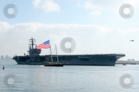 USS Reagan stock photo, The USS Reagan, leaving it's home port of San Diego. by Kimberly Johnson