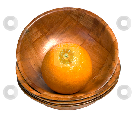 Orange In A Bowl stock photo, A fresh orange sitting in a wooden bowl at the top of a stack, isolated against a white background by Richard Nelson