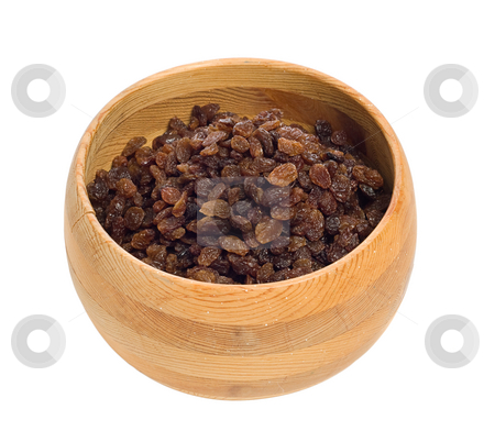 Raisins stock photo, A wooden bowl filled with raisins, isolated against a white background by Richard Nelson