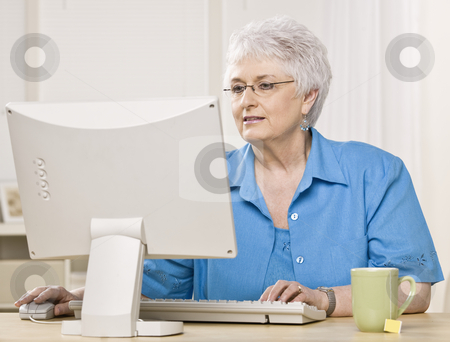 Older Woman on Computer stock photo, Older woman working on computer. Horizontally framed shot. by Jonathan Ross
