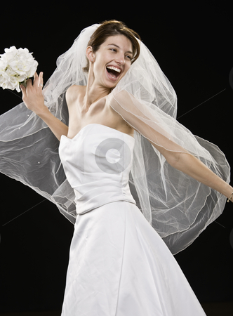 Young Woman in Wedding Dress stock photo, Young woman in wedding dress and veil smiling.  Vertically framed shot. by Jonathan Ross