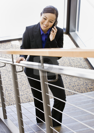 Businesswoman Talking on Cell Phone stock photo, Businesswoman talking on cell phone walking up stairs.  Vertically framed shot. by Jonathan Ross