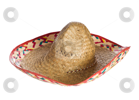 Sombrero stock photo, A common sombrero hat isolated against a white background by Richard Nelson
