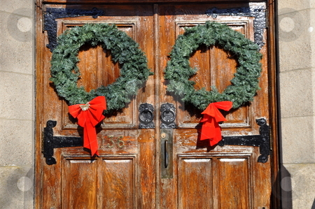 Christmas wreath images stock photo, Christmas wreaths on church doors by Richard Sheehan