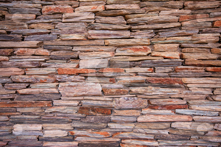 Natural slate stone wall stock photo, Natural slate stone building wall by Andre van der Veen