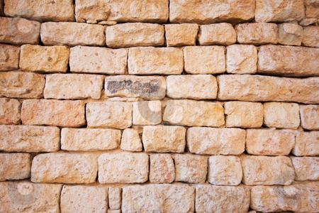 Natural stone brick wall stock photo, Natural stone brick wall background by Andre van der Veen