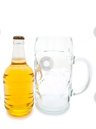 Beer and glass stock photo, Single bottle of the beer and glass against the white background by Sergej Razvodovskij