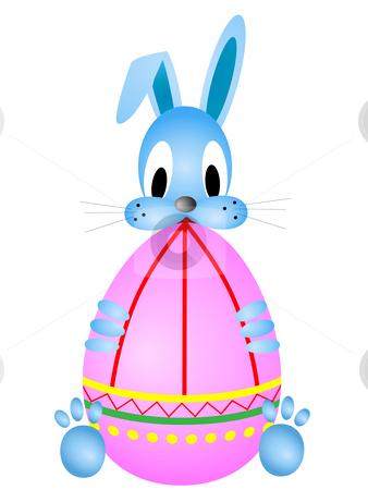 Easter funny rabbit stock photo, Easter funny rabbit holding coloring egg against the white background by Sergej Razvodovskij