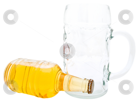 Beer with glass stock photo, Single bottle of the beer and glass against the white background by Sergej Razvodovskij