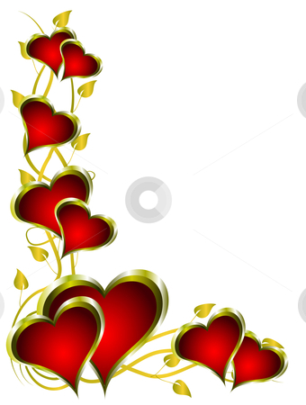 A red hearts valentines background  stock vector clipart, A red hearts valentines background with gold leaves isolated on white by Mike Price