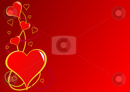 Valentines Day vector background  stock vector clipart, A Valentines Day vector background with a series of red hearts on a red graduated backdrop with room for text by Mike Price
