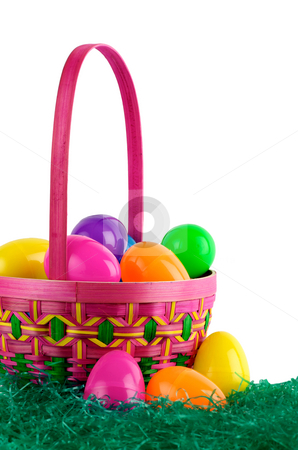 Easter basket with colored eggs stock photo, Image of Easter basket with colored eggs by Greg Blomberg
