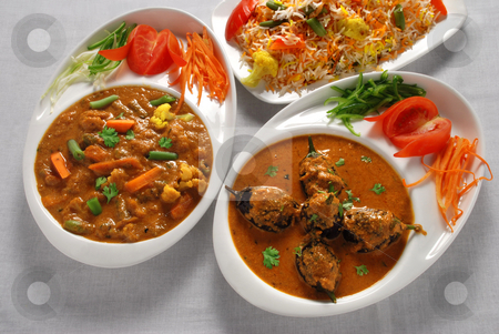 Vegetable & eggplant curry with vegetable rice stock photo, Vegetable & eggplant curry with vegetable rice from India by Gansham Ramchandani