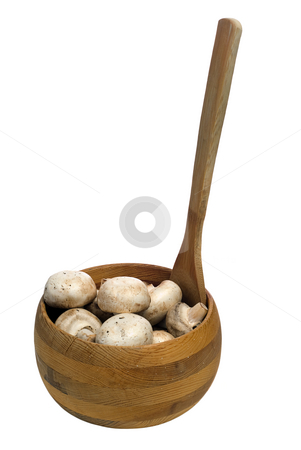 Button Mushrooms stock photo, Dirty button mushrooms in a wooden bowl, isolated against a white background by Richard Nelson