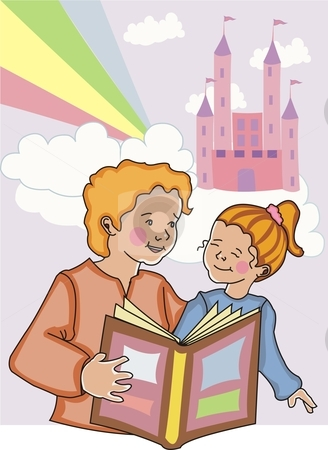 Mom and daughter reading fairytales.. stock vector clipart, Mom reading a fairytale to her young daughter with castle, clouds and rainbow in the background. by Claudia Sanchez