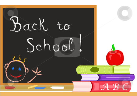 Back to School - vector stock vector clipart, Back to School message on a blackboard in a classroom in September. Vector file saved as EPS AI8 also available. by Andreea Chiper