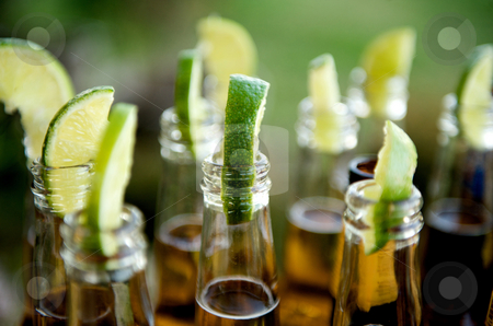 Many limes and many beers stock photo, Close up image of multiple beer bottles with limes inserted by Greg Blomberg