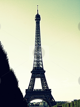 Eiffel Tower stock photo, Illustrated treatment of the Eiffel Tower, Paris France by Cora Reed