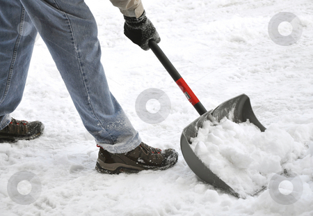 Shoveling snow stock photo, Man shoveling snow by Stephen VanHorn