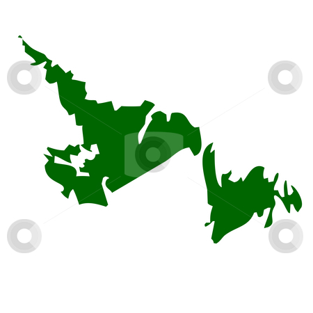 Newfoundland Province stock photo, Map of Newfoundland province or territory in Canada, isolated on white background. by Martin Crowdy