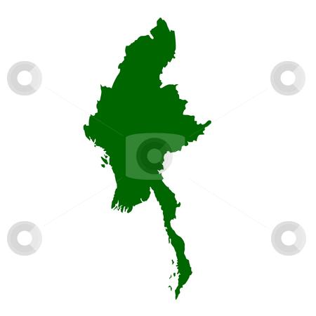 Burma Myanmar stock photo, Burma or Myanmar map isolated on white background. by Martin Crowdy