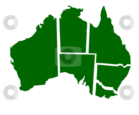 Australian States stock photo, Map of six states of Australia, isolated on white background. by Martin Crowdy