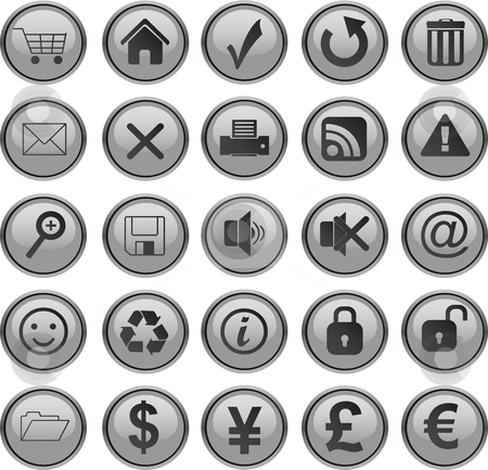Web icons set stock vector clipart, Web icons set grey by Vadim Pats