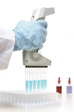 Laboratory research stock photo, Laboratory scientist, chemist  or medical technician  using an 850 by Leah-Anne Thompson